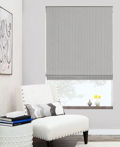Flat Roman Shades | Custom Roman Blinds | The Shade Store- suit stripe:  Natural