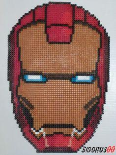 Ironman mask Perler beads hama by Sidorus00