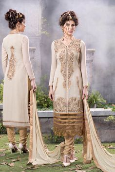 Cream Georgette Designer Suit