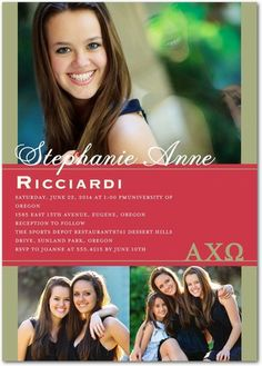 House Rules: Alpha Chi Omega - Greek Graduation Invitations in Cranberry Red. #graduation