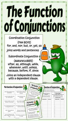 Locate the conjunction in a sentence and determine its function. This standards aligned activity will help the students understand how a conjunction functions within a sentence. The activity focuses on what the conjunction is connecting, words, sentences, or clauses, (independent and dependent). 24 sentences provide lots of practice on this hard concept.