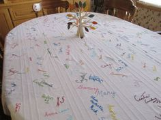 Family Thanksgiving tradition: have everyone sign a white cloth tablecloth each year. See each year how signatures change, remember family members that we have lost. What a wonderful family Thanksgiving keepsake! Thanksgiving Signs, Thanksgiving Traditions, Holiday Traditions, Family Traditions, Thanksgiving Blessings, Thanksgiving Appetizers, Thanksgiving Decorations, Thanksgiving Recipes, Christmas Table Cloth
