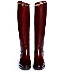 Bottes hauteur genou en cuir bordeaux Alberto Fasciani