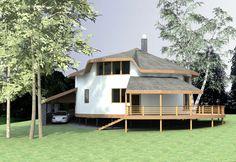 Проект круглого дома из соломы с парковкой на 2 машины