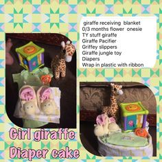Girl giraffe diaper cake giraffe receiving  blanket 0/3 months flower  onesie TY stuff giraffe Giraffe bottle Giraffe Pacifier  Griffey slippers Giraffe jungle toy Stuff flower Diapers Wrap in plastic with ribbon Other