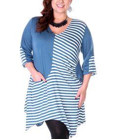Love this Blue & White Stripe Handkerchief Tunic - Plus on #zulily! #zulilyfinds