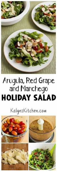 I love the flavor combinations in this Arugula, Red Grape, and Manchego Holiday Salad with spicy arugula, sweet red grapes, and pungent Manchego cheese. Use shaved Parmesan if you don't want to buy a special cheese for one salad, and you can cut down on the grapes if you need a salad with less sugar. [KalynsKitchen.com]