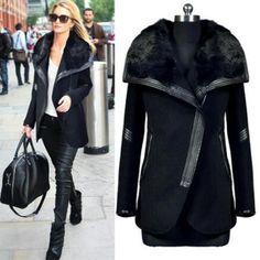 New Winter Coat Women Woolen Coat Warm Black Big Fur Collar Outwears Zipper  Wool Coats Lady Overcoats Jacket Plus -Size Trench 84a422419