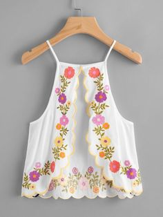Shop Scallop Trim Split Back Embroidered Cami Top online. SheIn offers Scallop Trim Split Back Embroidered Cami Top & more to fit your fashionable needs. Cami Tops, Casual Skirt Outfits, Cute Outfits, Outfits For Teens, Summer Outfits, Outfits Damen, Girl Fashion, Fashion Outfits, Fashion Trends