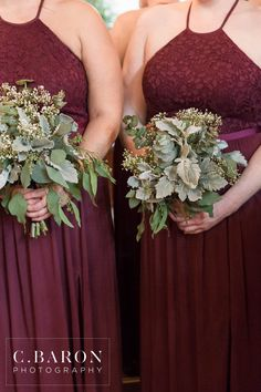 Loving these maroon bridesmaids with their natural bouquets!  The greenery is gorgeous + unique.  I love how simple yet elegant this bridesmaid look is! Taken at THE SPRINGS in Katy.  Follow this pin to our website for more information, or to book your free tour! Photographer:  C Baron Photography #bridesmaids #bouquets #bridesmaidbouquets #naturalbouquet #greenbouquet #simplebouquet #wildbouquet #bouquetideas #weddingflowers #bridesmaidflowers #maroonwedding #maroonweddingideas…