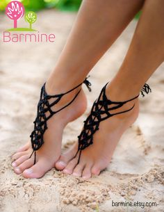 Negro sandalia descalzos tangas pies joyería de Crochet