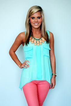 Aqua Blue top and pink pants. Cute Style :D