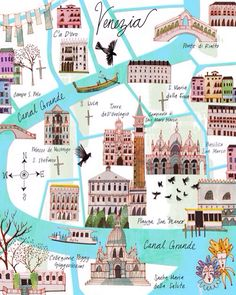 "A beautiful graphic map of Venice. Add the ""City of Water"" to your HUF or HUG independent travel itinerary!"