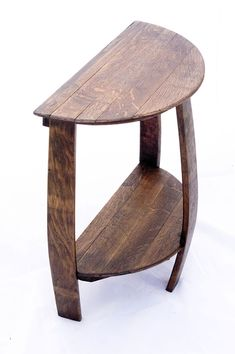 Wine Barrel Half Round End Table made from a recycled solid oak barrel end cap and staves. Ideal for placing by a couch or wall where space is a concern. Wine Barrel End Table, End Tables, A Table, Wine Barrel Crafts, Whiskey Barrel Furniture, Barris, Barrel Projects, Wine Decor, Shabby Vintage