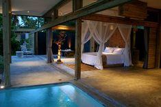 beautiful indoor/outdoor bedroom with pool Pool Bedroom, Outdoor Bedroom, Dream Bedroom, Master Bedroom, Kids Bedroom, Outdoor Spaces, Indoor Outdoor, Luxury Swimming Pools, Dream Pools