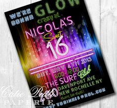 Glow Party Invitations, Printable Custom Invitations by Cutie Putti Paperie on Etsy, $30.00