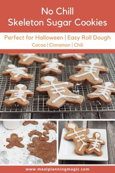 These Mexican Chocolate Sugar Cookies have a delicious hint of spice are super easy. No-chill dough and simple decorating makes them perfect for a Halloween sweet treat. #halloweenfood #halloween #easyrecipe #nochillsugarcookie #mexicanchocolate #easycookierecipe Kinds Of Cookies, Cut Out Cookies, Easy Cookie Recipes, Dessert Recipes, Desserts, Hanukkah Food, Hanukkah Recipes, Fall Recipes, Holiday Recipes