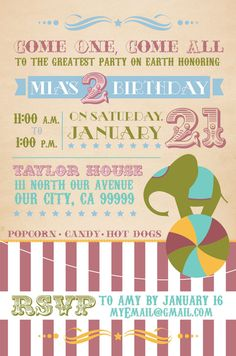 Vintage Circus Birthday Double Sided Invitation By Talove On Etsy