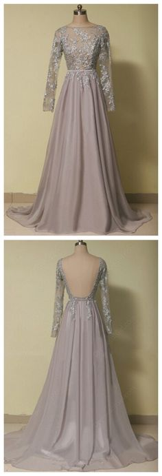 long sleeves prom dresses,applique evening dresses,backless prom dresses #SIMIBridal #promdresses