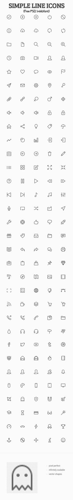 Simple Line Icons (Free PSD, Webfont):