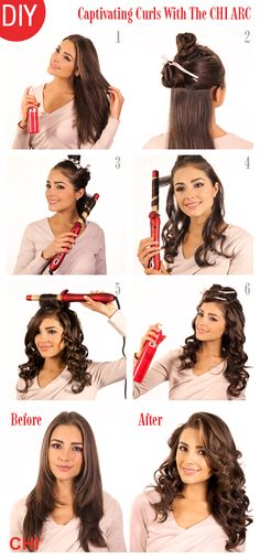 How to divide hair, to curl with a wand. (Curling wand pictured is the CHI ARC, it spins!)