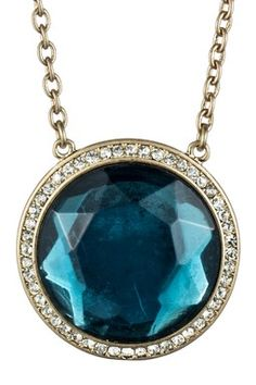 Blue Glass Round Pendant Necklace