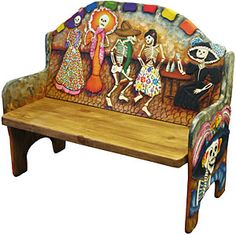 Skeleton Fandango Bench (Dia De Los Muertos, Day of the Dead) - Decoration Fireplace Garden art ideas Home accessories Mexican Furniture, Funky Furniture, Painted Furniture, Mexican Folk Art, Mexican Style, Day Of The Dead Art, Mexican Designs, Painted Chairs, Home Accessories