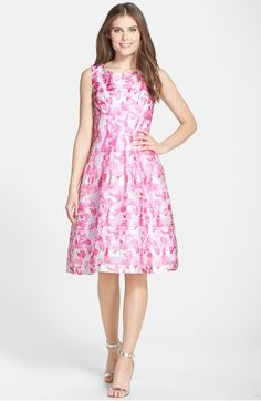 Main Image - Chetta B Print Organza Fit & Flare Dress