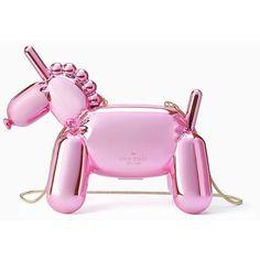 Kate Spade Whimsies Unicorn Balloon Clutch featuring polyvore, women's fashion, bags, handbags, clutches, pink purse, pink handbags, kate spade purses, handbag purse and man bag