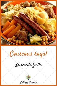 Arabic Recipes 29063 Royal couscous: the easy recipe No Salt Recipes, Cooking Recipes, Senegalese Recipe, Cuisine Diverse, Good Food, Yummy Food, Arabic Food, Pot Roast, No Cook Meals