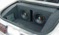 fully trimmed out trunk with customer provided equipment in a Riviera Custom Car Audio, Custom Cars, Custom Subwoofer Box, Bmw Logo, Speakers, Keep It Cleaner, Badass, Ideas, Car Audio
