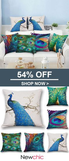 Nordic Style Peacock Print Linen Cotton Cushion Cover Throw Square Pillow Cover Pillowcase Home Sofa Cushion Covers, Pillow Covers, Retro Flowers, Mini Canvas, Printed Cushions, Nordic Style, Peacock Print, Home Textile, Bed Pillows