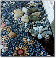 A Breath of Fresh Air: Along the winding way. Mosaic Walkway, Mosaic Rocks, Stone Walkway, Pebble Mosaic, Mosaic Diy, Mosaic Garden, Pebble Art, Jardin Vertical Artificial, Rock Garden Design