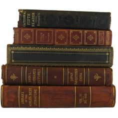 Antique Leather Books Distressed Books Decorative books antique books... (1,345 HNL) ❤ liked on Polyvore featuring books and leather home decor
