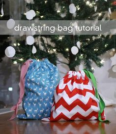 DIY Drawstring gift bag tutorial - love this idea! Use reusable cloth gift bags every year for Christmas, birthdays, Easter, and valentine's day.