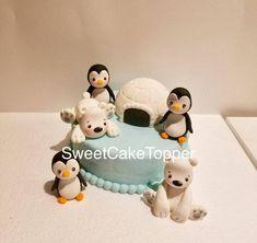 Penguins and Polar Bear  Fondant Cake Topper Set  Homemade | Etsy