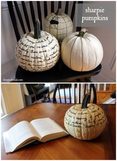 These Sharpie pumpkins can take the place of our Thanksgiving Tree this year!  Love this!