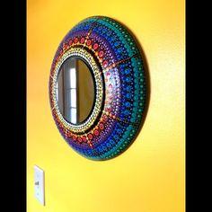 A simple black plate transformed by hand painting a rainbow mandala sunburst design. One of a kind decorative mirror. Unique Garden Decor, Unique Gardens, Colorful Garden, Hippie House, Hippie Home Decor, Dot Art Painting, Mosaic Diy, Eclectic Decor, Mandala Design