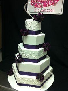 Hexagon wedding cake by Exclusive Cake Shop, via Flickr