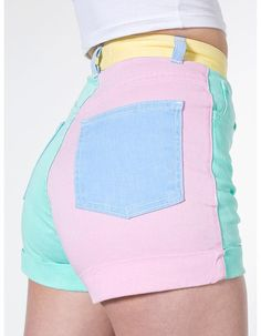 American Apparel - Color Block Stretch Bull Denim High-Waist Cuff Short I own these there my favorite shorts! K Fashion, Pastel Fashion, Kawaii Fashion, Cute Fashion, Fashion Outfits, Mode Outfits, Girl Outfits, Grunge Outfits, American Apparel