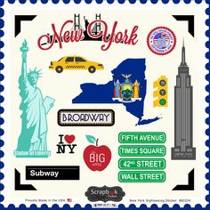 Scrapbook Customs - State Sightseeing Collection - 12 x 12 Cardstock Stickers - New York Baby Scrapbook, Travel Scrapbook, Scrapbook Stickers, Scrapbook Supplies, Scrapbook Paper, Sedona Arizona, Stickers New York, New York Scrapbooking, Scrapbooking Ideas