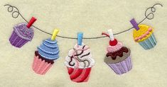 Cupcake Clothesline  Machine Embroidery Designs at Embroidery Library! -
