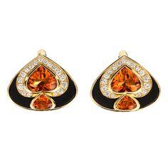 Onyx, Citrine, and Diamond Earrings