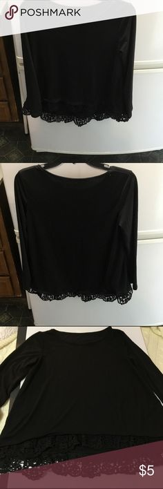 "Black Shirt With Crochet Bottom No Name Black Shirt With Crochet Bottom Never Worn   Size is M Laying Flat Bust Approximately 17""   Front Length Approximately 21"". Back Length Approximately 24"". Sleeve Length Approximately 21"". Tops Tees - Long Sleeve"