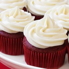 Red Velvet Cupcakes with Cream Cheese Frosting. I added a extra 1/3 cup of sugar. For some reason I had quiet a bit of frosting left. Maybe enough for about another half of dozen cupcakes. This recipe is a keeper