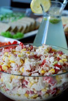 Gospodyni Miejska: Sałatka ryżowa z szynką i porem Polish Recipes, Polish Food, Cobb Salad, Potato Salad, Grains, Potatoes, Vegetables, Ethnic Recipes, Party
