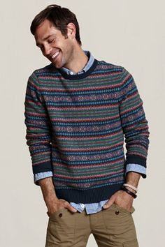dress up those ugly striped sweaters his mother keeps buying him for Christmas