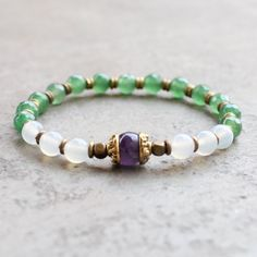 White agate, aventurine and amethyst mala bracelet – Lovepray jewelry