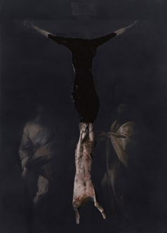 Nicola Samori, Reversal, 2010, oil on wood, 70 x 50 cm - this is my absolute favourite Nicola Samori. What begins as an image of the crucifixion, metamorphoses into something reminiscent of a Francis Bacon or Goya painting...