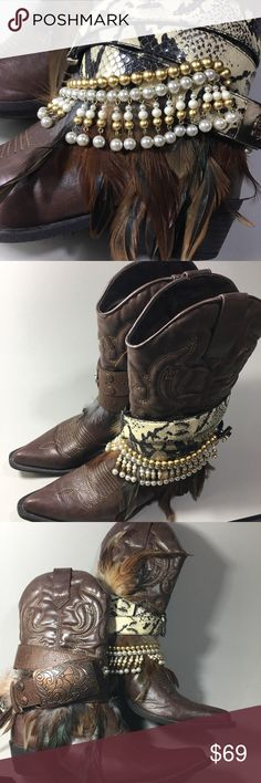 Western Cowboy Glammed Up Boots❤️❤️ Western Boho Glammed up boots. Repurposed with belts, and vintage jewelry. One of a kind design💋 Shoes Heeled Boots